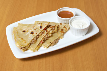 Quesadilla with chicken meat,