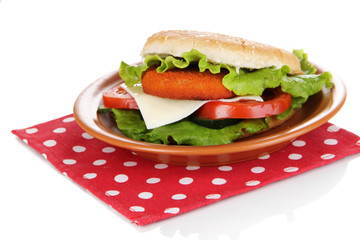 Tasty sandwich with cutlet,