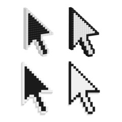 Pixel cursors icons, 3D mouse arrow squares black and white