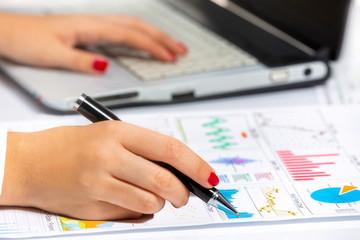 businesswoman analyzing company' s growth