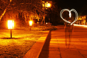 Heart drawn by light at night