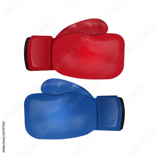 Staande foto Stierenvechten Boxing gloves isolated on white background