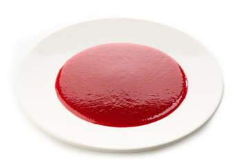 berry soup on white plate