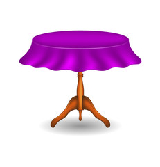 Wooden round table with tablecloth