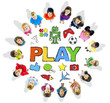 Multi-Ethnic Children Forming a Circle with Play Concepts