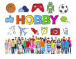 Multiethnic Group of Children with Hobby Concept