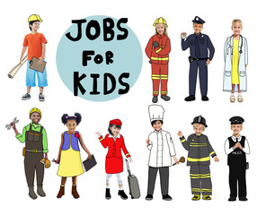 Group of Children with Professional Occupations