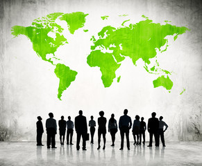 Business People Standing Individually And A Green Cartography Of