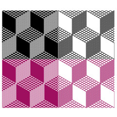 vector monochrome seamless 3d cube pattern