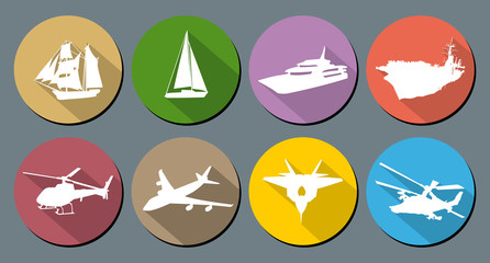 Round vector icons water and air transport