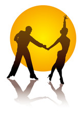 dancing couple on a background of orange circle
