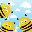 Funny bees on sky background