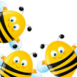 Funny bees on white background