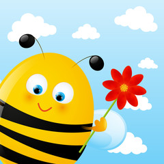 Funny bee on sky background