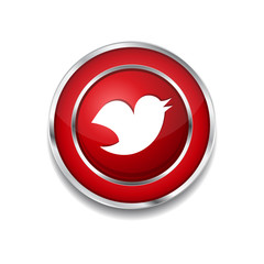 Bird 3d Rounded Corner Red Vector Icon Button
