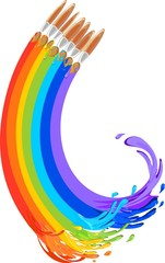 Brushes painting a rainbow
