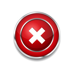 Cross Circular Red Vector Web Button Icon