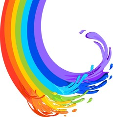 Rainbow in the form flows of paint