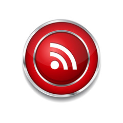 RSS Circular Vector Red Web Icon Button