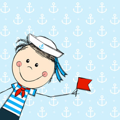 Funny boy wearing sailor costume