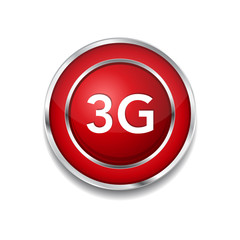 3g Sign Circular Red Vector Button Icon