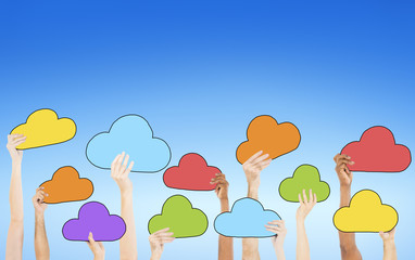 People Holding Colorful Cloud Symbols