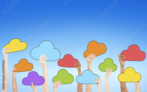 canvas print picture People Holding Colorful Cloud Symbols