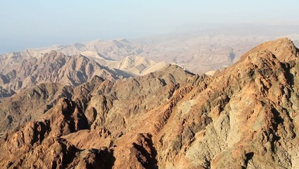 Early morning in ancient mountains of Sinai desert.