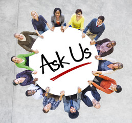 "Multiethnic People in Circle with ""Ask Us"" Concept"