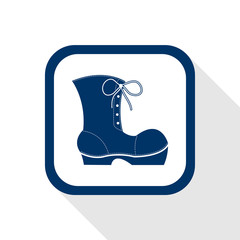 square blue icon work boots with long shadow