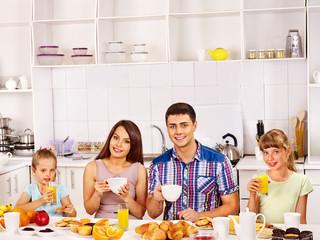 Parents prepare  breakfast.