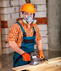 Man in builder helmet .