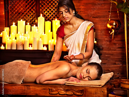 canvas print picture Woman having Ayurvedic spa treatment.