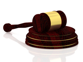 Judge gavel with golden decorations - wooden gavel - law concept