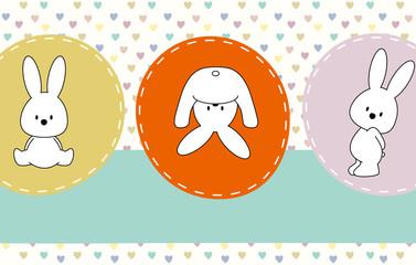 cute rabbits, greeting card