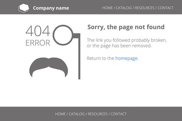 Page not found Error 404 in hipster style