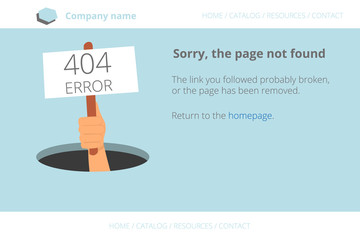 Human hand shows from hole a message about Page not found Error