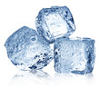 Three ice cubes on white background. - 67481034