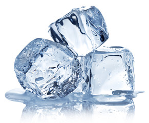 Three ice cubes on white background.