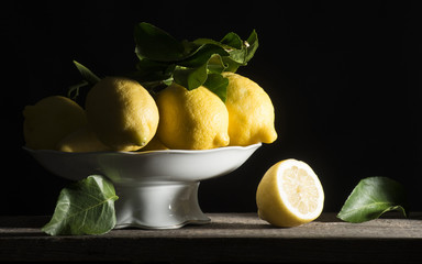 lemons on the wooden table