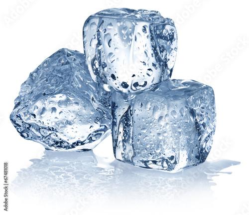Three ice cubes on white background. - 67481018