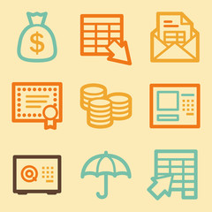Banking web icons set in retro style