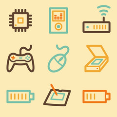 Electronics web icons set in retro style