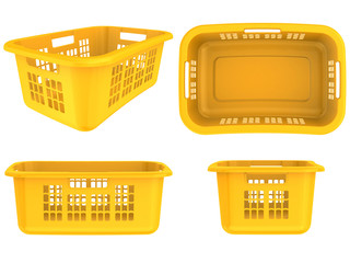 set plastic basket on a white background