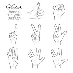 vector set of hands. black and white