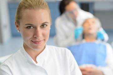 Dental assistant closeup dentist checkup patient