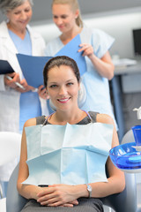 Businesswoman dentist nurse checkup dental clinic