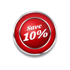 Save 10 Percent Glossy Shiny Circular Vector Button