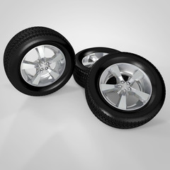 3d render rims and tires