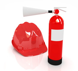 Red fire extinguisher and hardhat